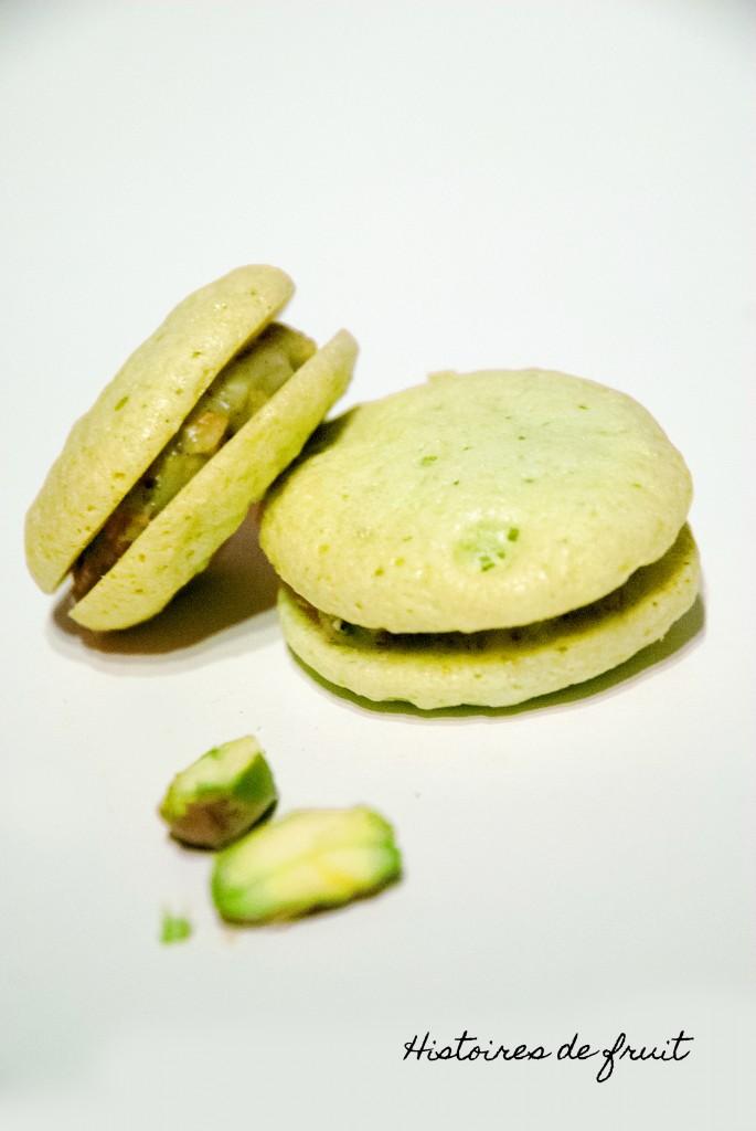 Macarons sans colerette chocolat blanc et éclats de pistache