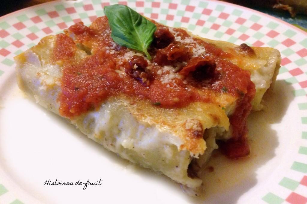 cannellonis boeuf, aubergine et tomates séchées