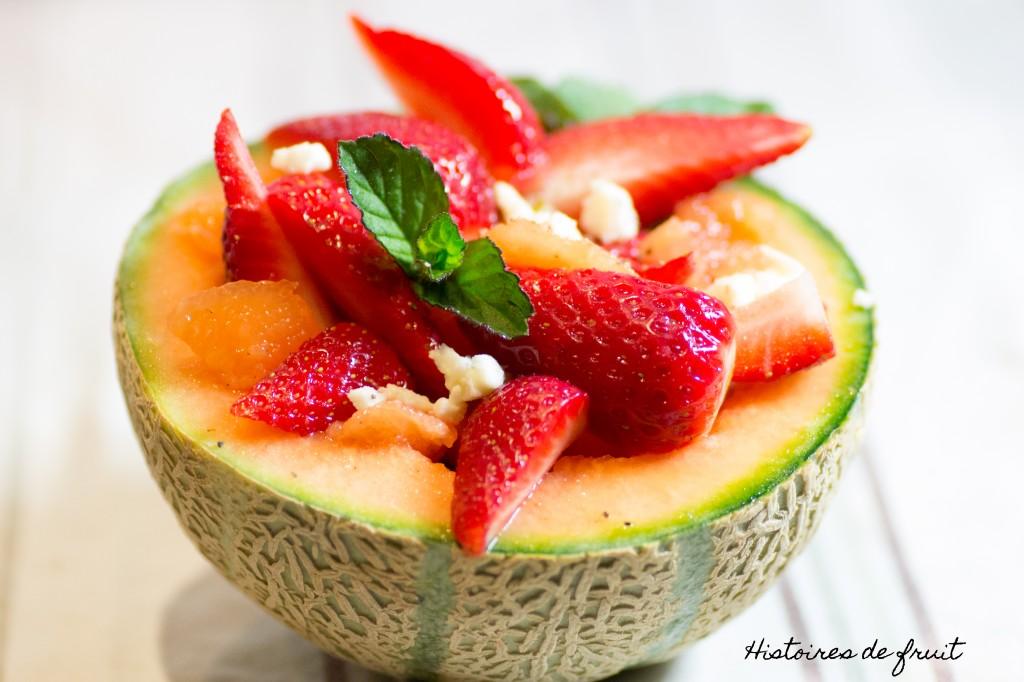 salade de fraises et melon à la feta