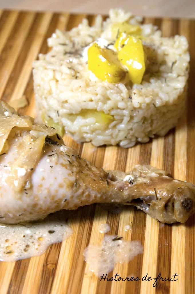 poulet au cidre et risotto aux pommes