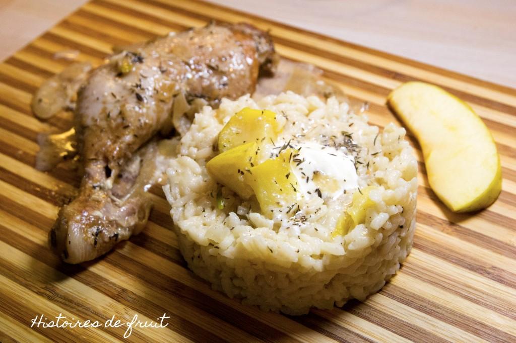 poulet au cidre, risotto aux pommes
