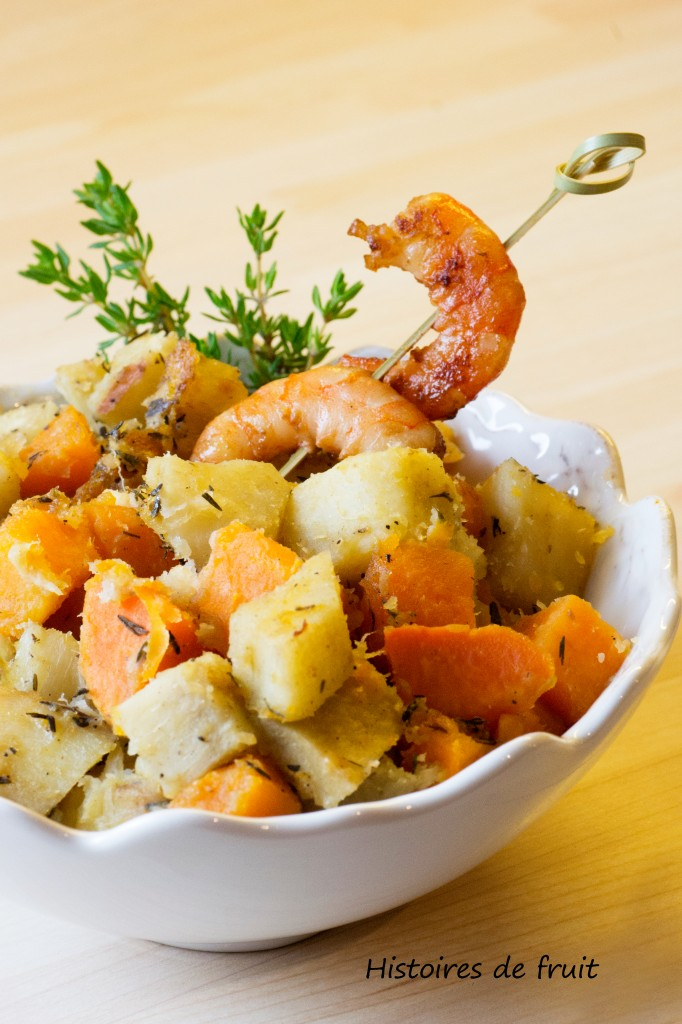 duo de patates douces sautées et crevettes caramélisées à la sauce soja