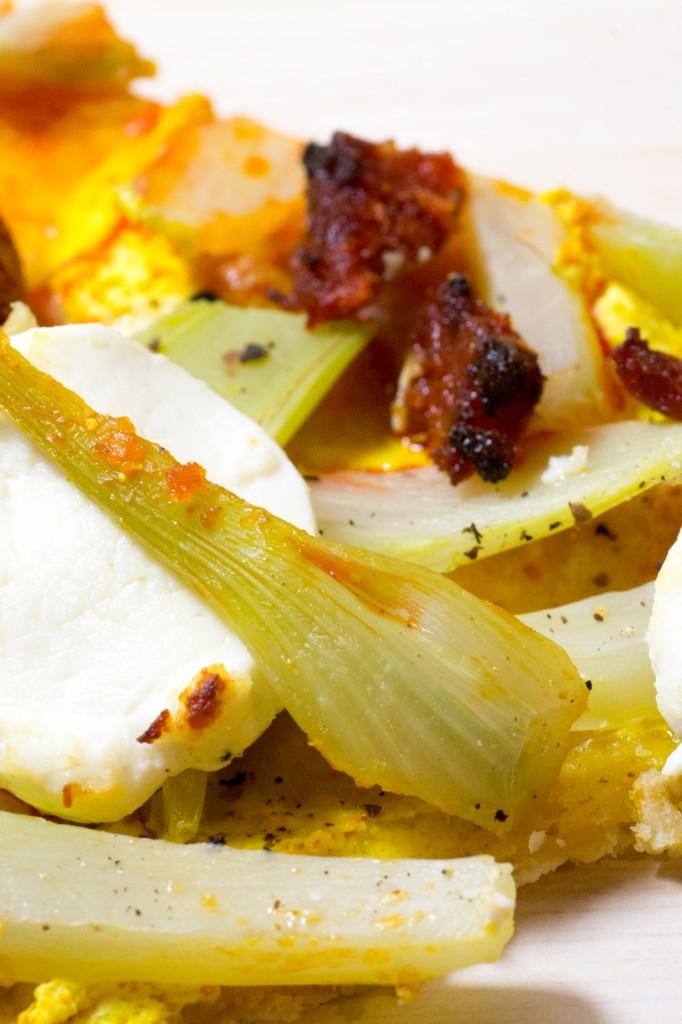Tarte légère au fenouil, chorizo et chèvre frais