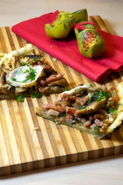 Tarte automnale : champignons et fromage de chèvre