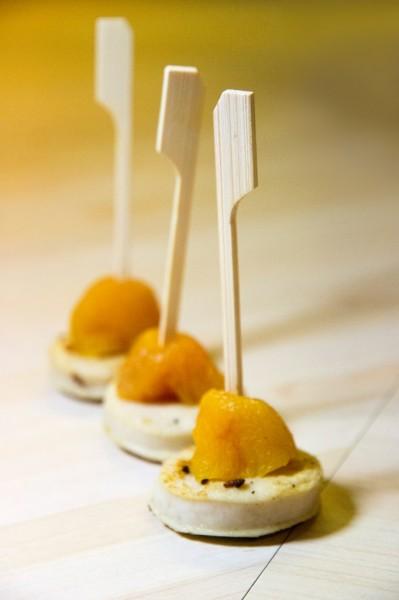 Tapas de boudin blanc à l'abricot