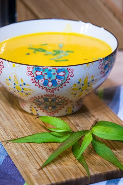 Soupe de carotte au lait de coco (coriandre, gingembre, cardamome...)