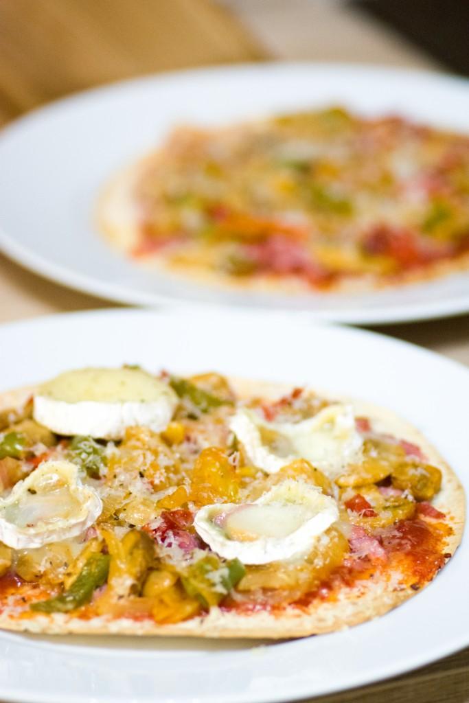 Pizza tortillas aux légumes et au chèvre