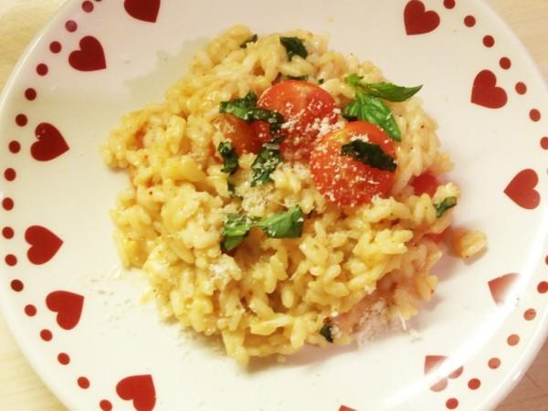 Risotto tomates cerises et basilic