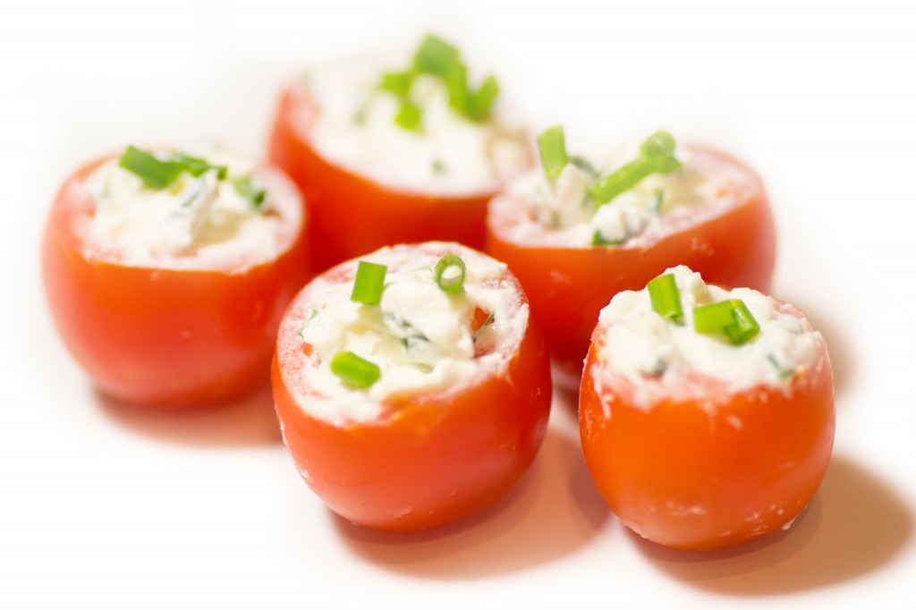 Tomates cerises surprises, fromage frais & ciboulette