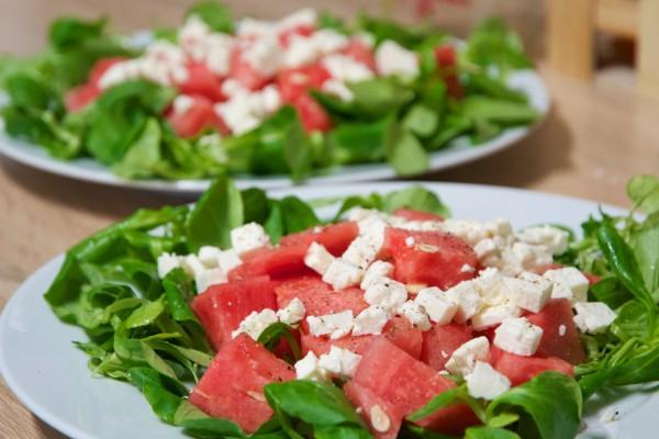 Salade fraicheur d'été indien : pastèque, feta et mâche !