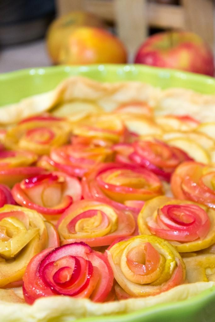 Tartes aux pommes bouquet de roses